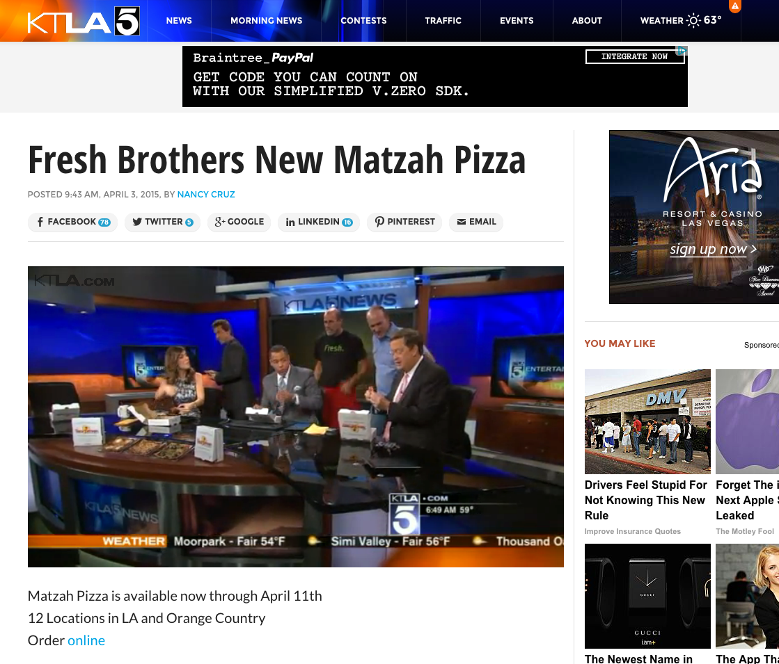 Fresh Brothers on KTLA